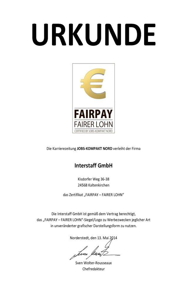 Urkunde Fairplay